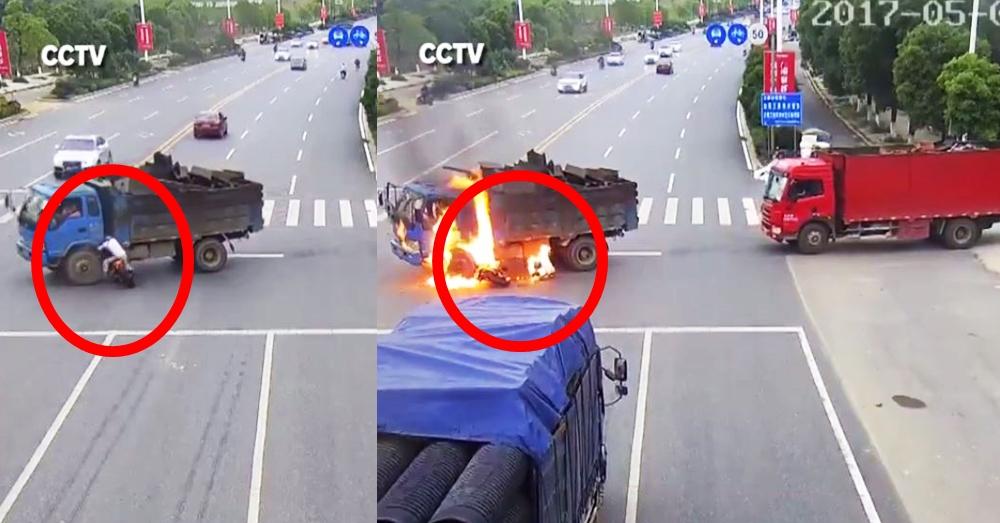 หนุ่มจีนขี่มอเตอร์ไซค์ชนรถบรรทุก ไฟลุกท่วมตัว รอดตายปาฏิหาริย์ (คลิป)