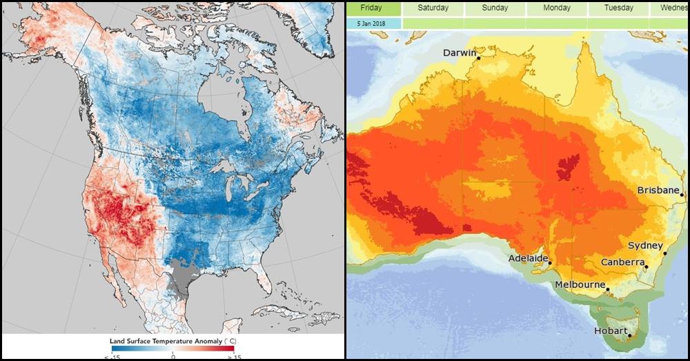แปรปรวนสุดขั้ว!! เปิดกราฟอุณหภูมิสุดแตกต่าง ระหว่าง 'สหรัฐฯ-ออสเตรเลีย'