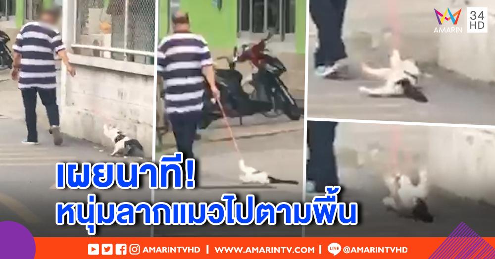 เพจดัง! เผยภาพนาที หนุ่มลากแมวไปตามพื้นถนน ประสานตร.เชิญเจ้าตัวให้ปากคำ (คลิป)