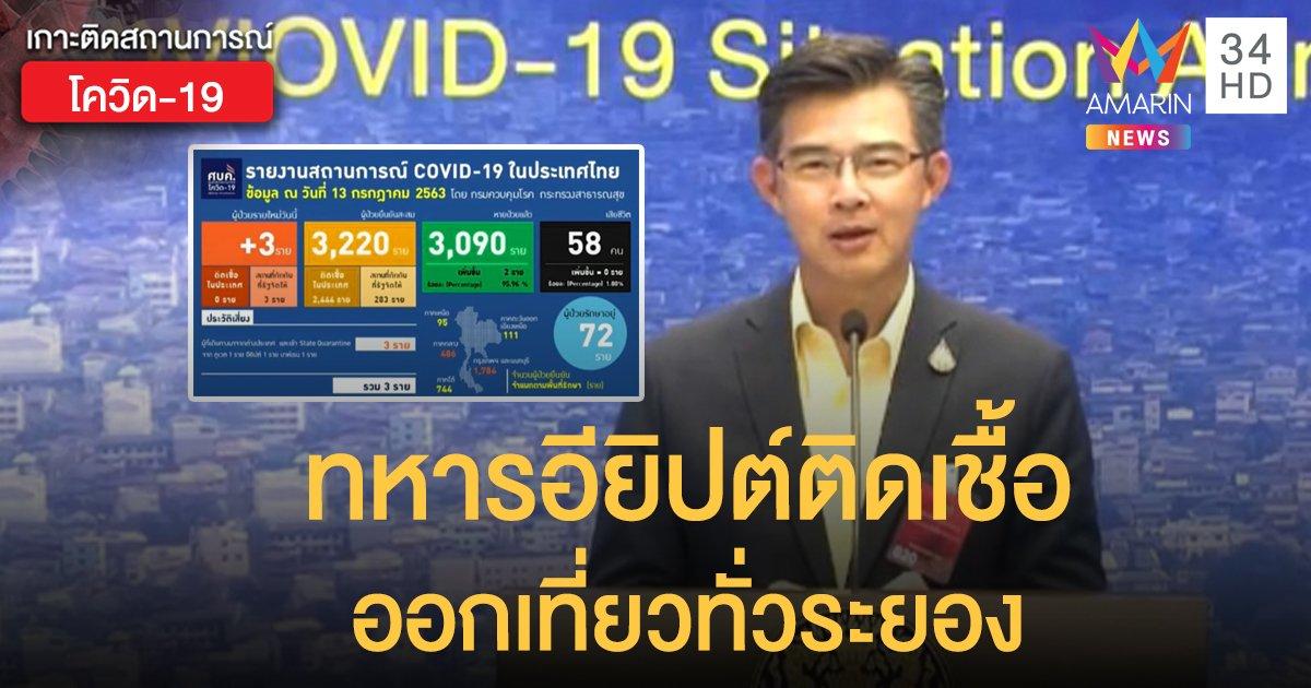 สถานการณ์แพร่ระบาดโรคโควิด-19 ในประเทศไทย 13 ก.ค. ป่วยใหม่ 3-ทหารอียิปต์ติดเชื้อเที่ยวทั่วระยอง