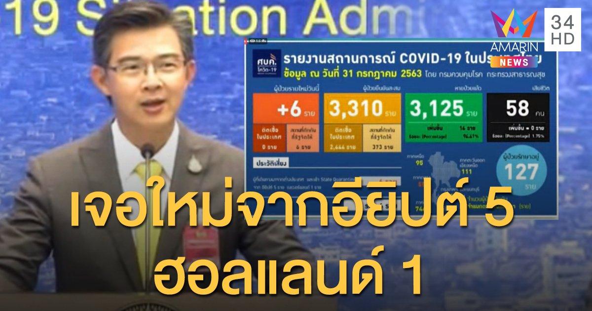 สถานการณ์แพร่ระบาดโรคโควิด-19 ในประเทศไทย 31 ก.ค. เจอใหม่อีก 6 มาจากอียิปต์-ฮอลแลนด์