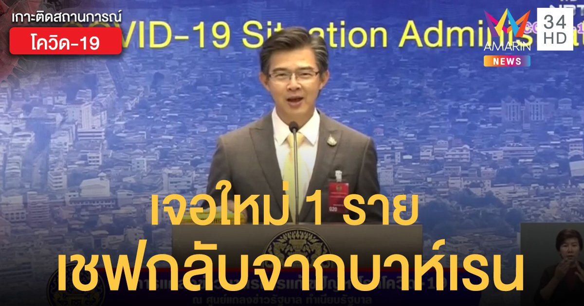 สถานการณ์แพร่ระบาดโรคโควิด-19 ในประเทศไทย 20 พ.ค. พบใหม่ 1 ราย เชฟร้านอาหารไทยกลับจากบาห์เรน