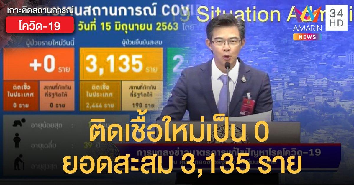 สถานการณ์แพร่ระบาดโรคโควิด-19 ในประเทศไทย 15 มิ.ย. ติดเชื้อใหม่เป็น 0 ยอดสะสมยังอยู่ที่ 3,135 ราย