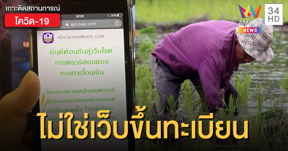 เข้าใจใหม่! www.เยียวยาเกษตรกร.com ไม่ใช่เว็บไซต์ขึ้นทะเบียนเกษตรกร รับ 15,000 บาท