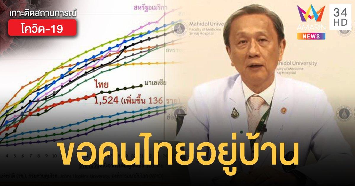 หมอศิริราชขอคนไทย 'อยู่บ้าน หยุดเชื้อ เพื่อชาติ'