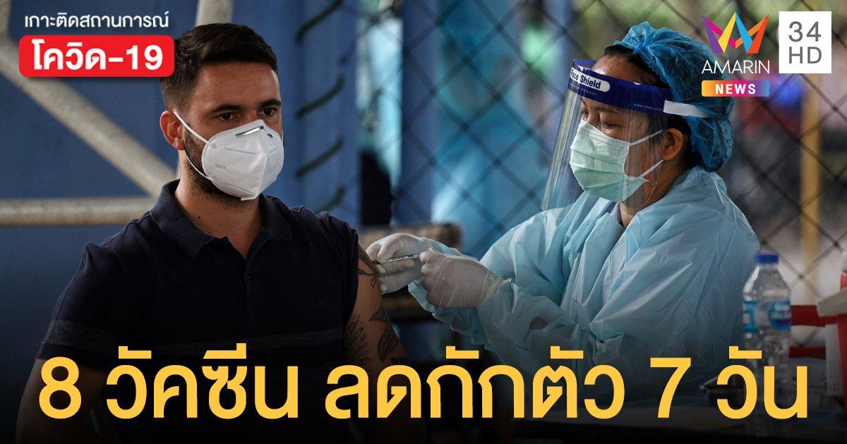 เปิดรายชื่อ 8 วัคซีนโควิด ฉีดแล้วเข้าไทยเหลือกักตัว 7 วัน