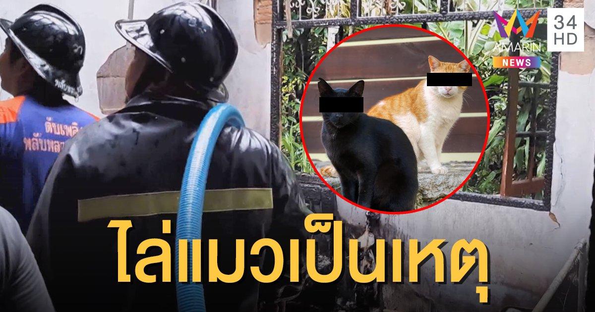 อุทาหรณ์! ไฟไหม้บ้านหวิดวอด เหตุเพราะสาดน้ำไล่แมว