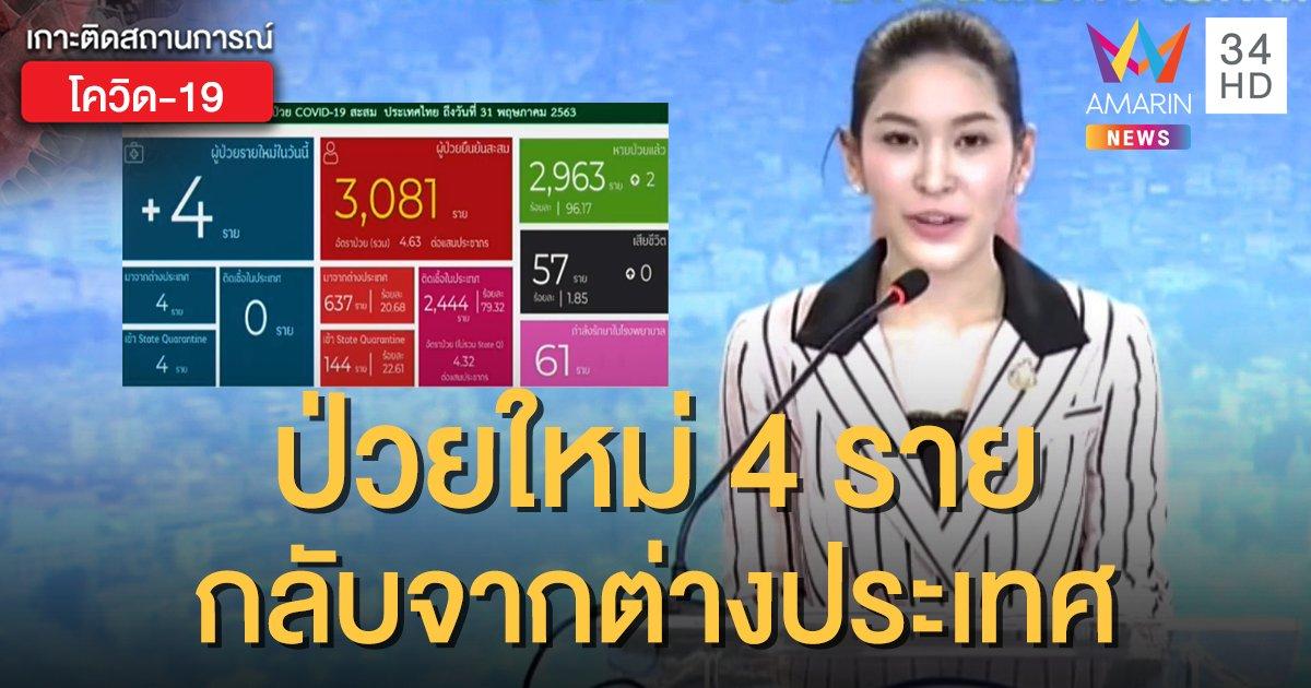 สถานการณ์แพร่ระบาดโรคโควิด-19 ในประเทศไทย 31 พ.ค. พบผู้ป่วยใหม่ 4 ราย กลับจาก ตปท.